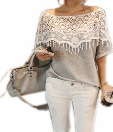 BetterMore Sexy Womens Hollow Crochet Lace Floral Poncho Shoulder Blouse Short Batwing Sleeve T Shirt Top 3 COLORS UK 8-20 product image