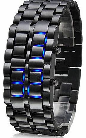 Beyondfashion New Volcanic Lava Iron Metal Blue LED Bracelet Wrist Sport Watch product image