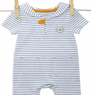 Baby Boys Blue Striped Sailor Romper, blue