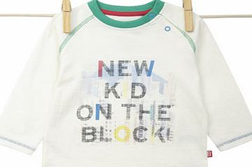 Baby Boys Long Sleeved Graphic Slogan Top, white