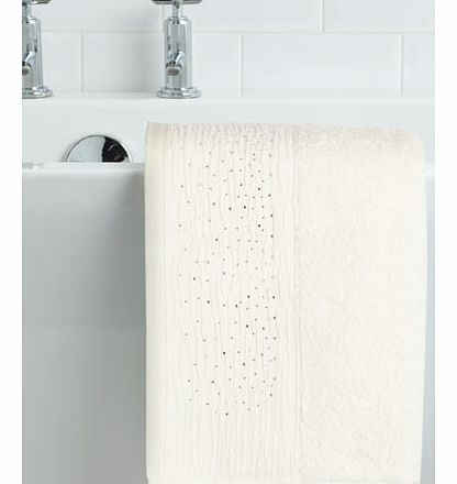 Cream Crinkle Diamante Hand Towel, cream
