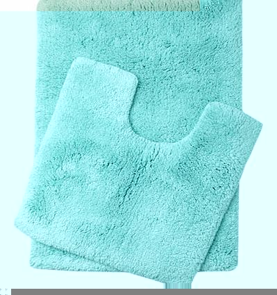 Soft turquoise Ultimate bath and pedestal mats