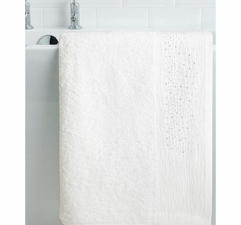 White Crinkle Diamante Bath Sheet, white