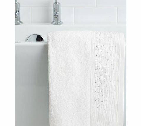 White Crinkle Diamante Hand Towel, white