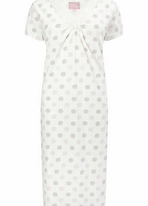 Bhs Womens Cream Multi Ruched Spot Nightdress, cream product image