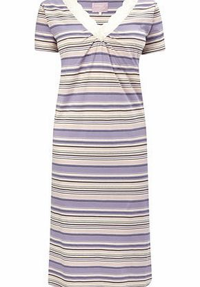 Bhs Womens Lilac Rouched Stripe Nightdress, lilac product image