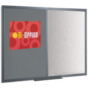 This combination board from Bi-Office a magnetic board and push pin board rolled into one. The left hand side of the board is for push pins ideal for holding notes documents posters or notices and the right hand side is a dry wipe white board. It can - CLICK FOR MORE INFORMATION