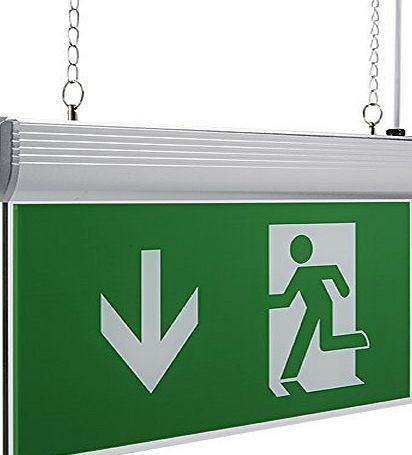Biard® LED Green Square Maintained / Non Maintained Double Sided Exit Sign Emergency Light White LEDs Hazard Safety