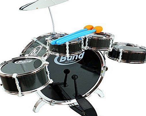 Bid Buy Direct 6-Piece Black Junior Drum Set with Crash Cymbal amp; 2 Drumsticks - Easy to Assemble Kit - Perfect Gift for Rockstar Beginners