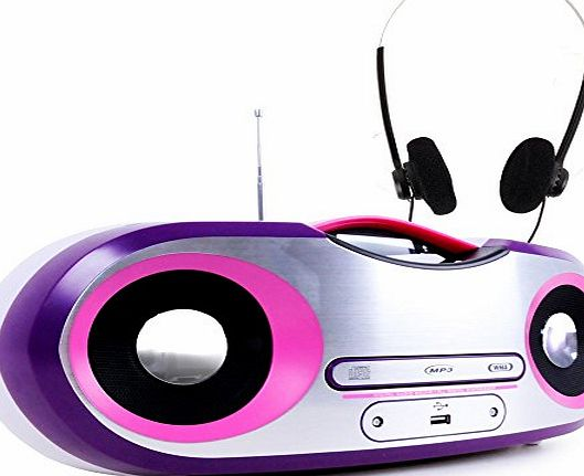 BigBen Interactive Radio Stereo FM MP3 USB pink and white LCD display music system headphones