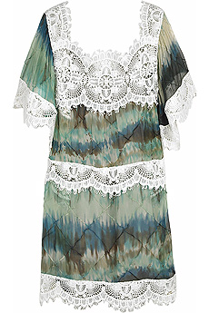 Multi-colored silk blend day dress with heavy lace panel detailing. - CLICK FOR MORE INFORMATION