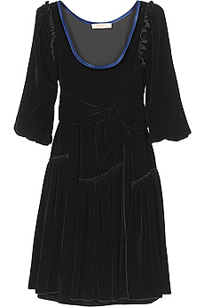 Black velvet tunic mini dress with ruffle trim seams and blue trimmed neck. - CLICK FOR MORE INFORMATION