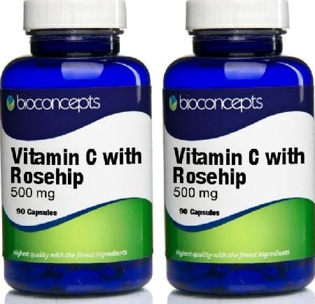 Bioconcepts, 2102[^]0070216 Vitamin C with Rosehip Tablets 500mg - 180 Tablets
