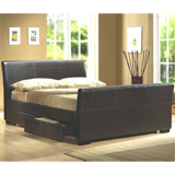 Birlea 135cm Peru Double Bed Frame in Faux Leather with 4 Drawers product image