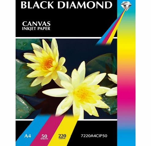 Black Diamond 50 Sheets A4 Black Diamond High Quality Canvas Textured inkjet Photo Paper - A4 Matt Canvas Inkjet Paper - 50 Sheets - High Resolution For Professional Results with Photographic and Fine Art Prints (N product image