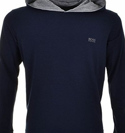 Black Obsidian Mens HUGO BOSS Black Long Sleeved Hooded T Shirt Blue - Large