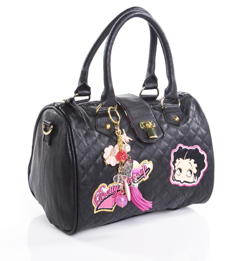 Black Quilted Betty Boop Handbag with Charms product image