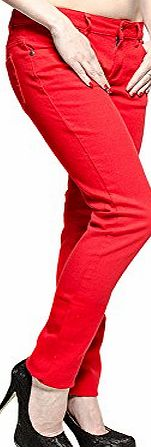 Blue Banana Plain Skinny Fit Jeans (Red) - (10 UK)