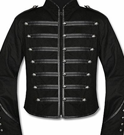 BLUE MAGIK Mens Unique Gothic Steampunk Black Parade Military Marching Band Drummer Jacket Goth Punk Emo (Large)