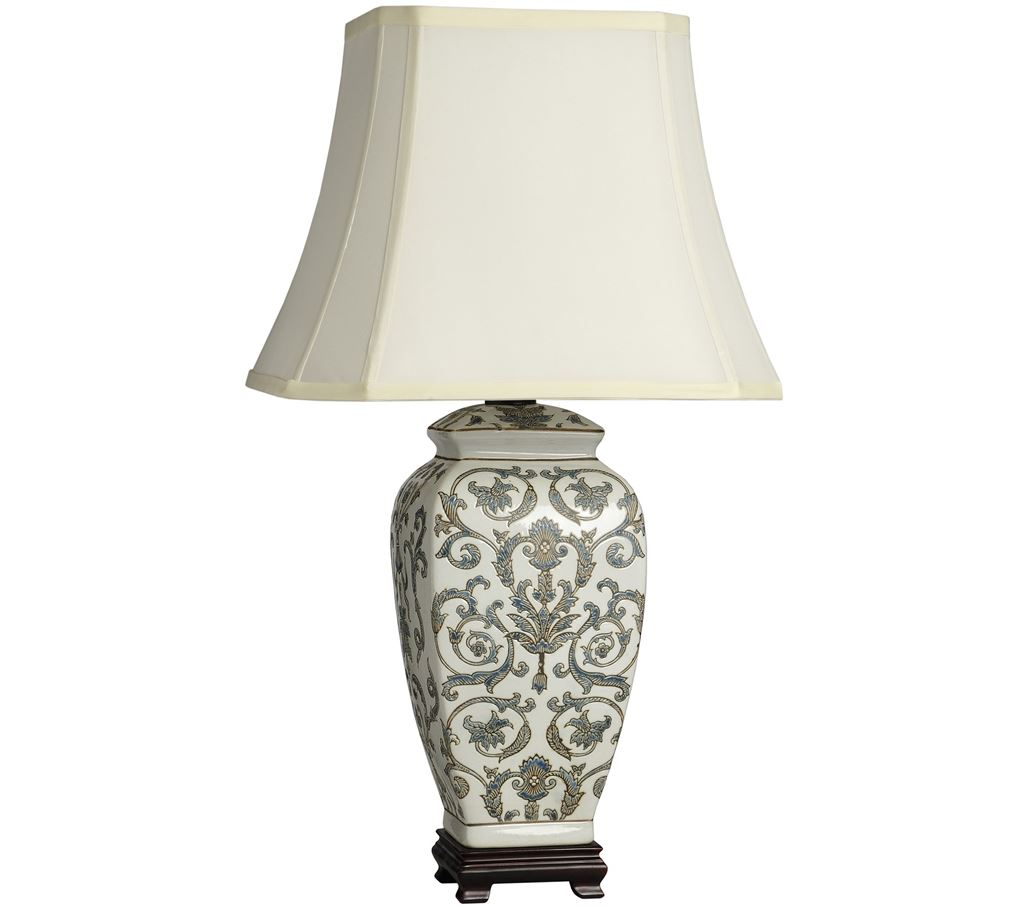 Blue On White Pattern Ceramic Table Lamp