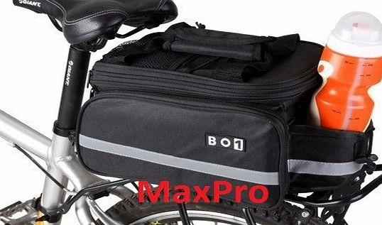 BO1 MaxPro BO1 Cycling Bicycle Bike Rear Rack Bag Extending Top Plus Extending Foldaway Panniers with Rain cover and Shoulder Strap
