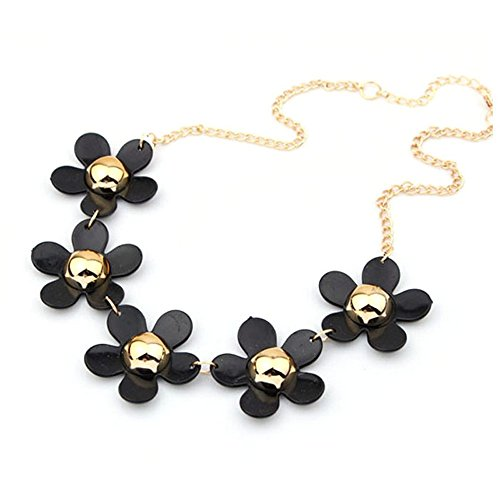 Bocideal New Style Daisy Flower Bib Statement Pendant Chain Necklace For Women (Black) product image