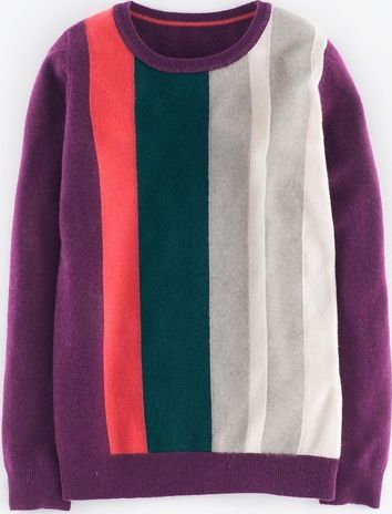 Boden, 1669[^]35077668 Cashmere Crew Neck Jumper Elderberry Stripe