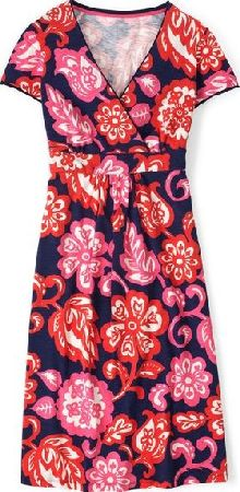 Boden, 1669[^]34772780 Casual Jersey Work Dress Navy Tropical Floral