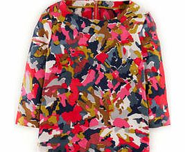 Eliza Top, Pink Abstract Floral,Red Watercolour