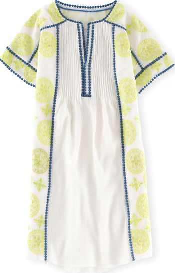 Boden, 1669[^]34970079 Embroidered Dress Ivory/Citrus/Blue Boden,