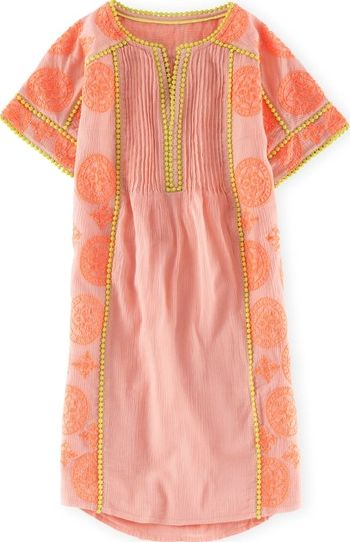 Boden, 1669[^]34970178 Embroidered Dress Ivory/Citrus/Flamenco Pink