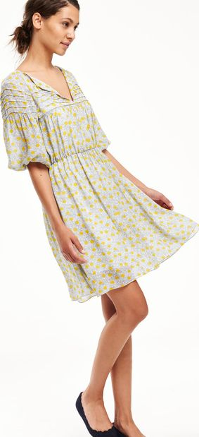 Boden, 1669[^]35081686 Faye Party Dress Canary Scribble Spot Boden,