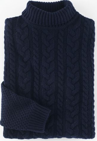 Boden, 1669[^]34925362 Fisher Cable Roll Neck Blue Boden, Blue 34925362