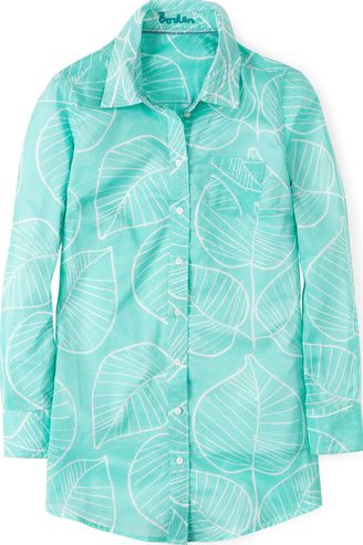 Boden, 1669[^]34858571 Long Line Casual Shirt Pale Mint Retro Leaf