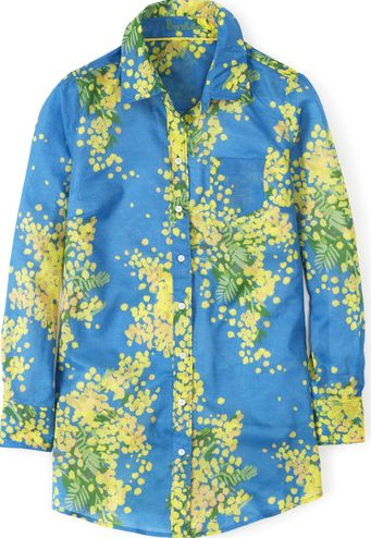 Boden, 1669[^]34858746 Long Line Casual Shirt Porcelain Blue Mimosa