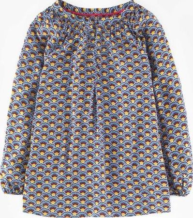 Boden, 1669[^]35235183 Long Line Dolly Top Blue Deco Fans Boden, Blue