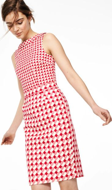 Boden, 1669[^]35034222 Martha Party Dress Red Small Tile Boden, Red