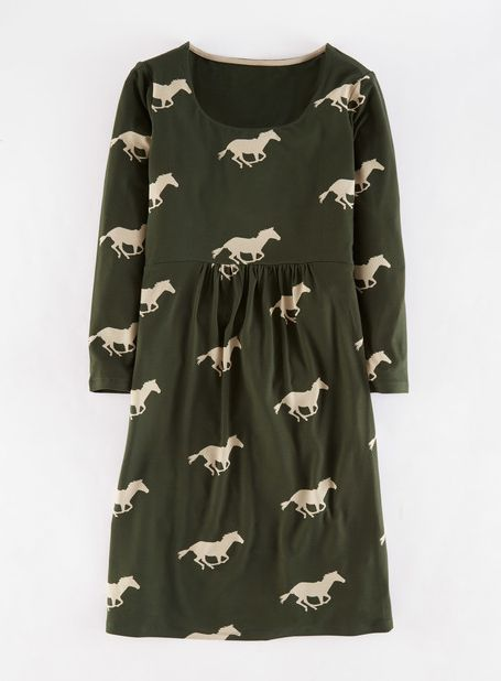 Boden, 1669[^]35020536 Must Have Tunic Forest Green Horses Boden,