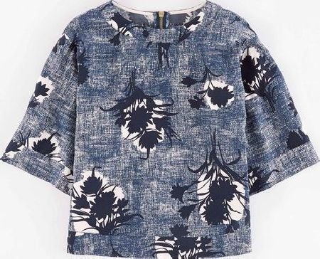 Boden, 1669[^]35187913 Square Tee Blue Textured Flower Boden, Blue