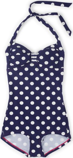 Boden, 1669[^]34564989 Vintage Boyleg Swimsuit Sailor Blue Spot Boden,