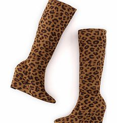Boden Wedge Stretch Boot, Tan Leopard 34218610