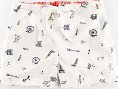 Boden, 1669[^]35076629 Woven Pull-On Short Pjyamas City Print Boden,