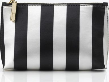 Boden, 1669[^]35118421 Zip Top Pouch Black Ivory Stripe Satin Boden,