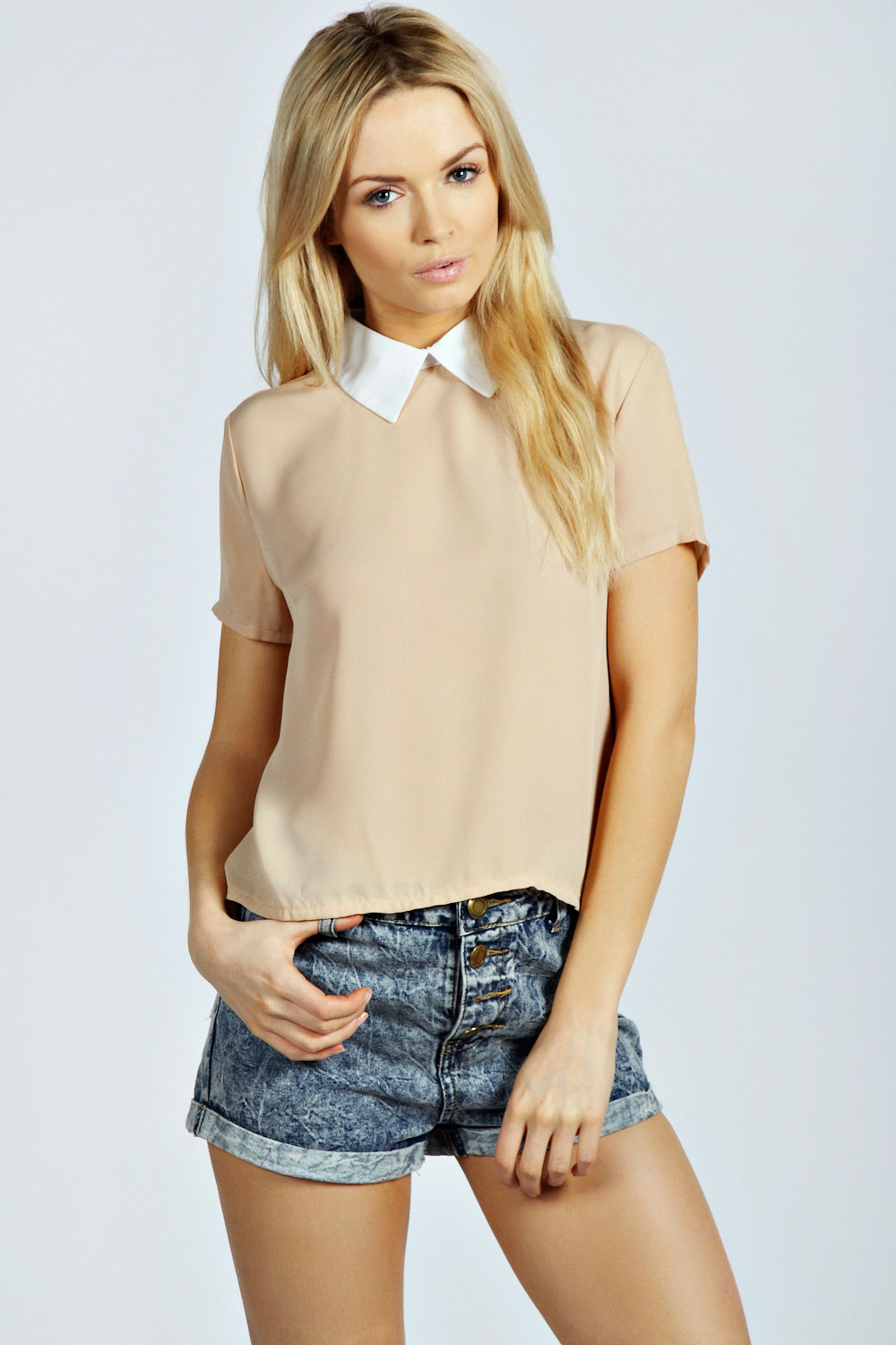 boohoo Amelia Contrast Collar Blouse - nude product image