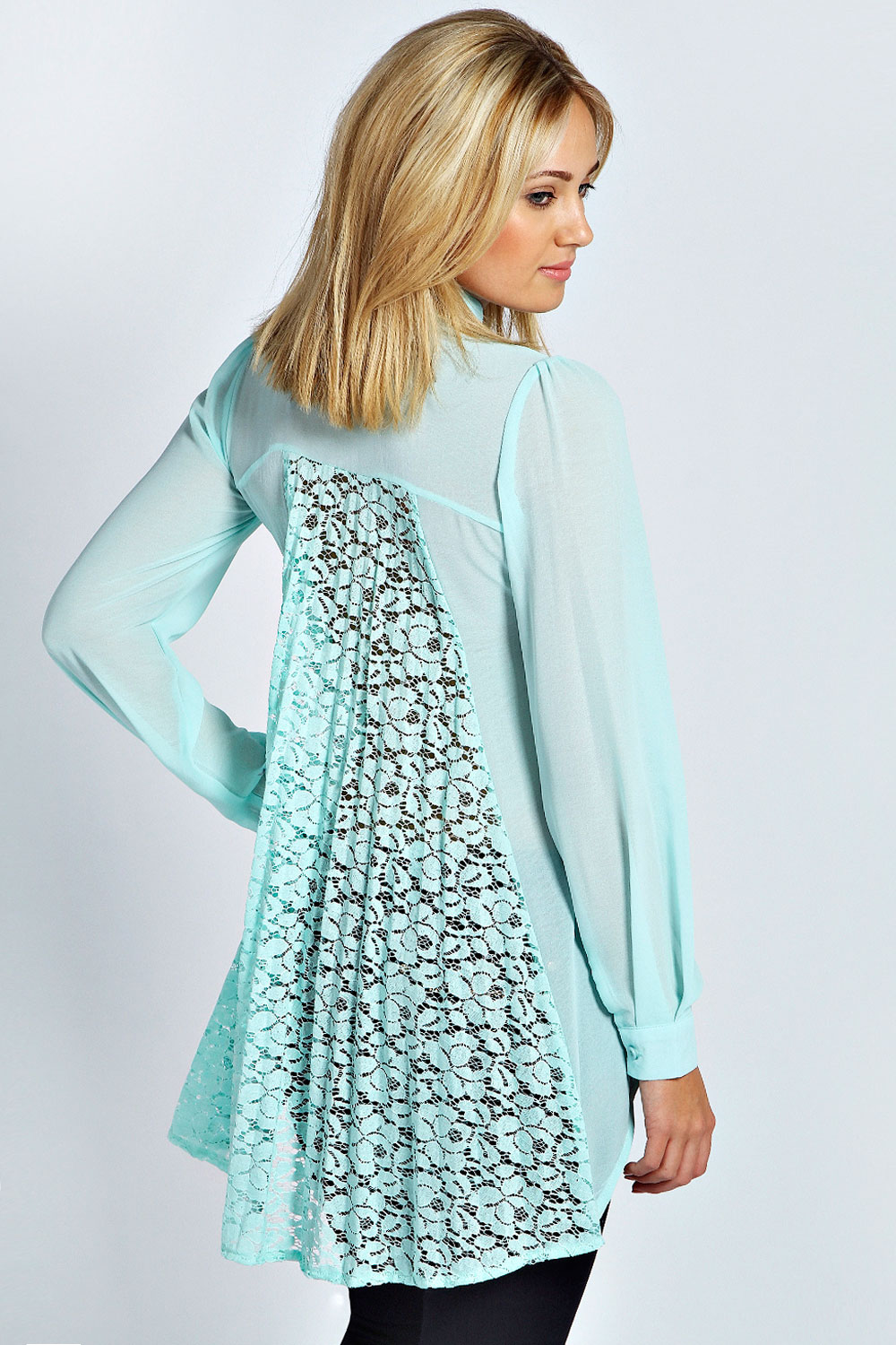 boohoo Eleanor Pleated Lace Back Blouse - mint product image