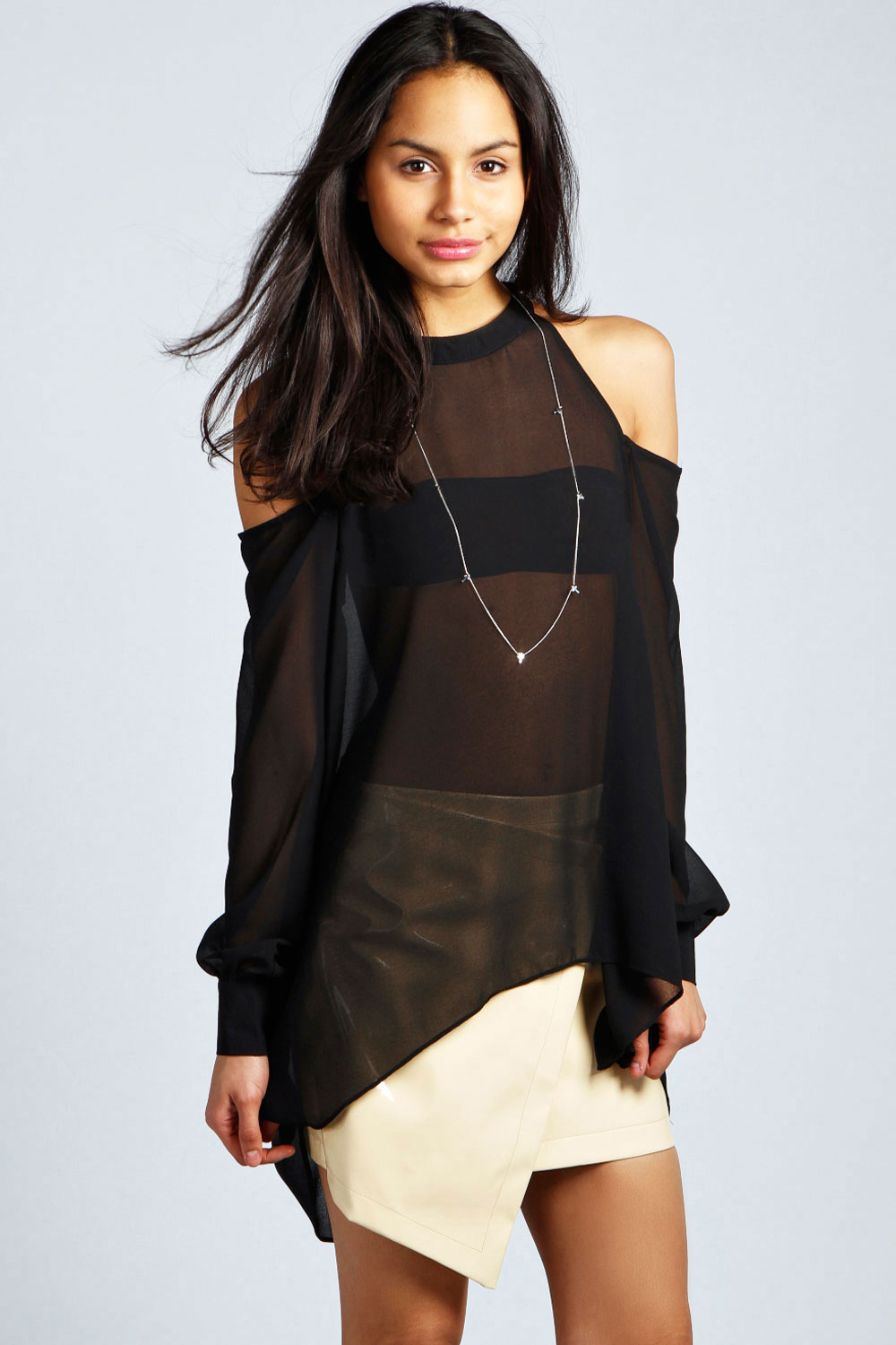 boohoo Isabella High Neck Cut Out Blouse - black product image