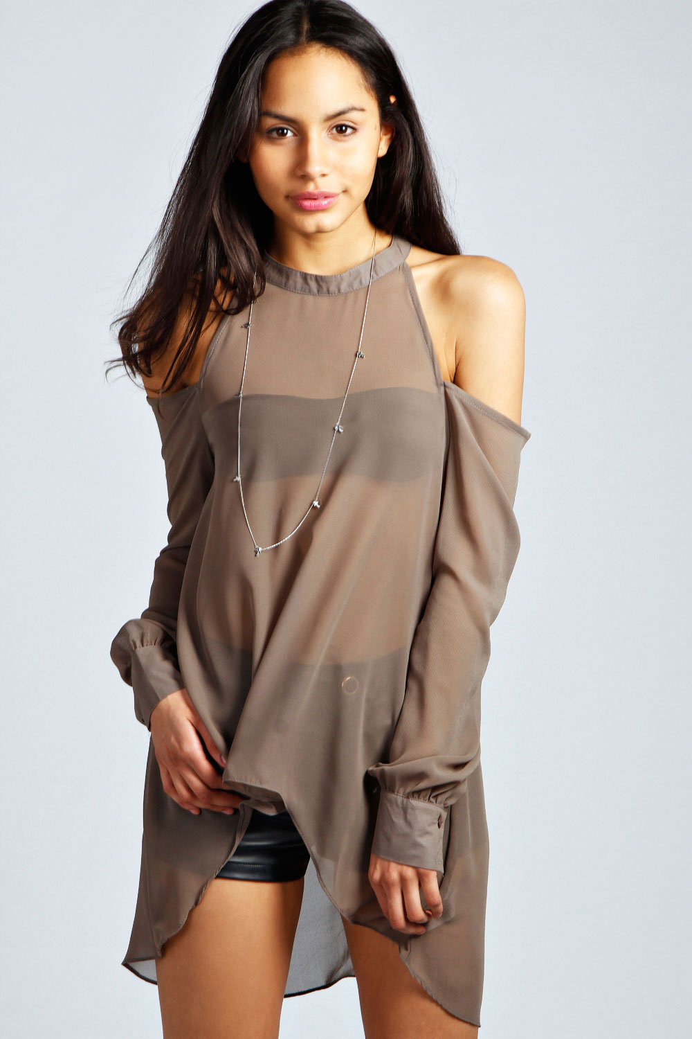 boohoo Isabella High Neck Cut Out Blouse - grey product image