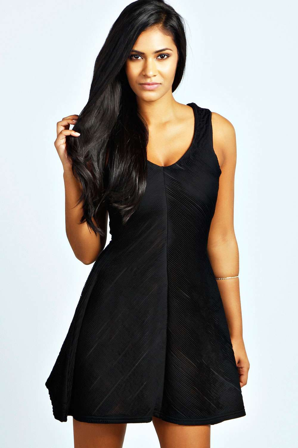 boohoo Laura Textured Skater Dress - black product image