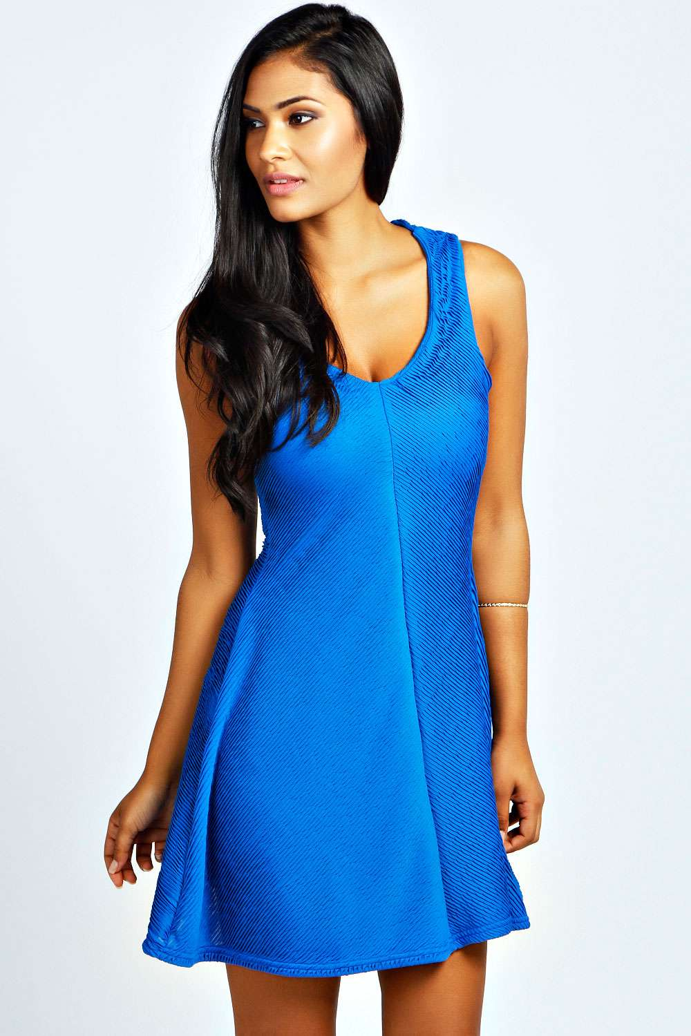 boohoo Laura Textured Skater Dress - cobalt product image