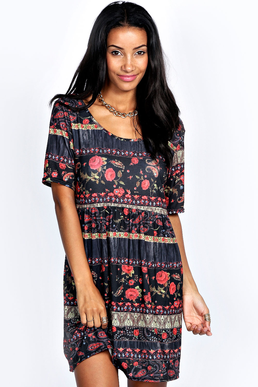 boohoo Neve Printed Keyhole Back Smock Dress - product image